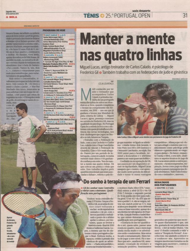 """Entrevista ao Jornal """"A Bola"""" sobre o trabalho de preparação mental desenvolvido com o tenista Frederico Gil"""